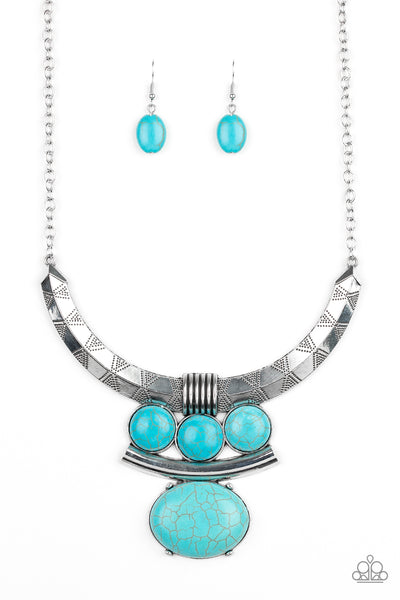 Paparazzi Commander In CHIEFETTE - Blue Stone Necklace Set - Princess Glam Shop