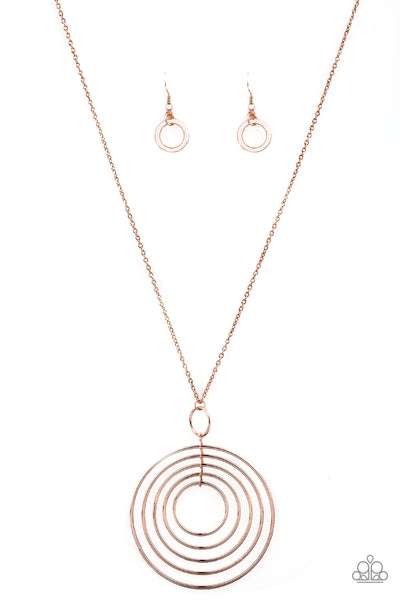 Paparazzi Running Circles In My Mind - Rose Gold Necklace Set - Princess Glam Shop