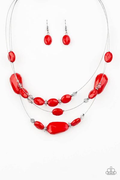 Paparazzi Radiant Reflections- Red Crystal Bead Necklace Set - Princess Glam Shop