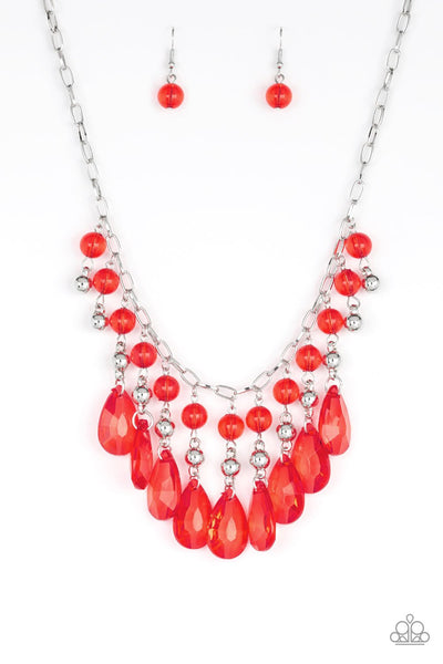 Paparazzi Beauty School Drop Out - Red Glassy Acrylic Teardrop Necklace Set - Princess Glam Shop