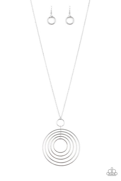 Paparazzi Running Circles In My Mind Necklace Set - Silver - Princess Glam Shop