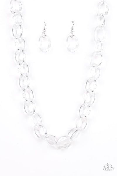 Paparazzi Ice Queen -Glassy Acrylic Link Necklace Set - PrincessGlamShop