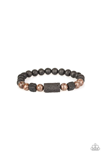Paparazzi Zenned Out - Brown Stone & Black Lava Bead Bracelet - PrincessGlamShop