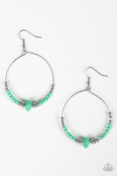 Paparazzi Retro Rural Green Hoop Earrings - Princess Glam Shop