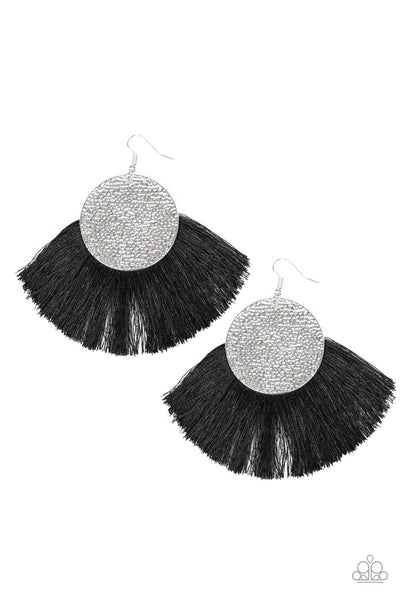 Paparazzi Foxtrot Fringe Black Earrings - Princess Glam Shop
