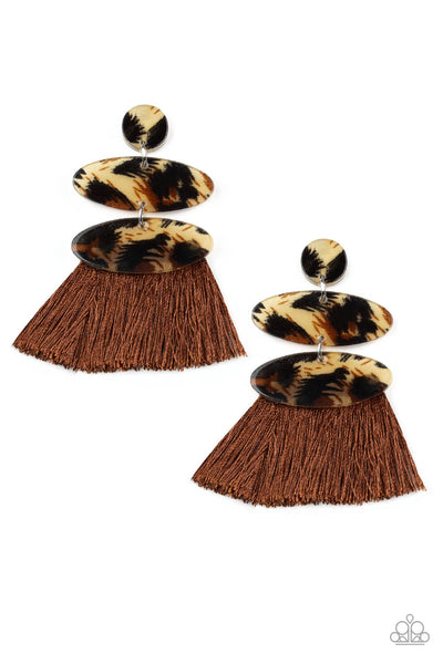 Paparazzi No One Likes A Cheetah - Animal Print Acrylic Brown Fabric Fringe Earrings - PrincessGlamShop