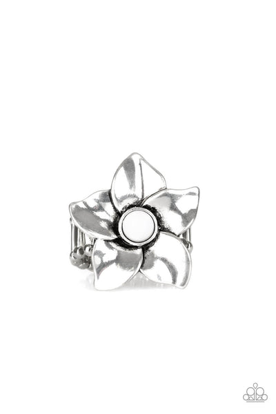 Paparazzi Ask For Flowers - White Ring - Princess Glam Shop