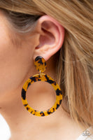 Paparazzi Fish Out Of Water - Yellow Acrylic Spotted Earrings - PrincessGlamShop