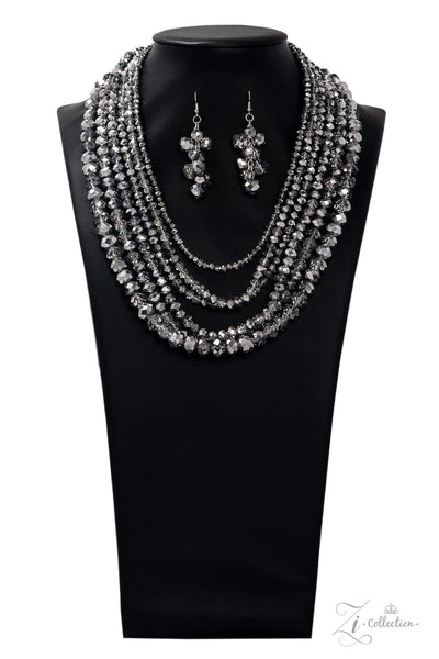 Paparazzi Knockout Hematite 2019 Zi Collection Necklace Set - PrincessGlamShop
