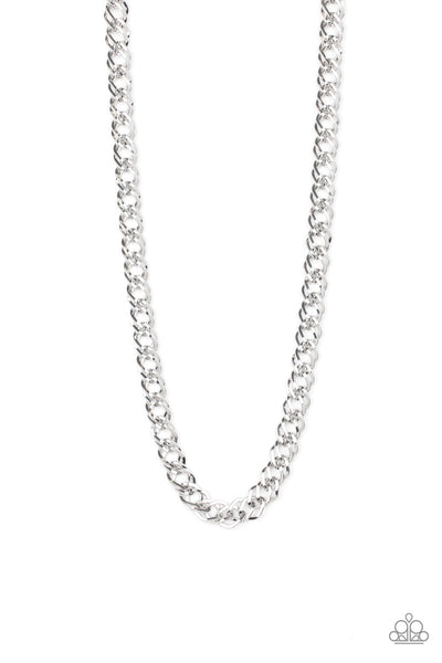 Paparazzi Undefeated - Silver Men's Double Link Chain - PrincessGlamShop