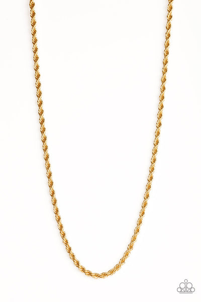 Paparazzi Double Dribble - Gold Men's Rope Chain - PrincessGlamShop