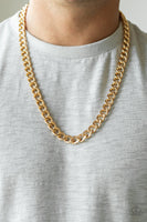 Paparazzi Alpha - Gold Men's Curb Chain Necklace - Princess Glam Shop