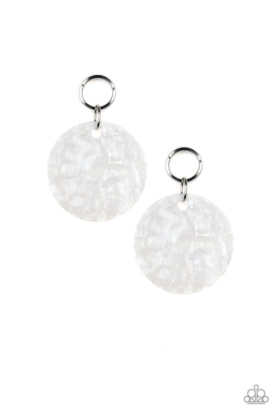 Paparrazzi Beach Bliss - White Acrylic Earrings - PrincessGlamShop
