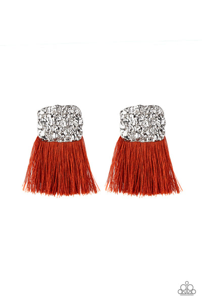 Paparazzi Plume Bloom Orange Fringe Earrings - Princess Glam Shop