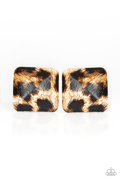Paparazzi Making HISS-tory - Brown Cheetah Print Earrings - PrincessGlamShop