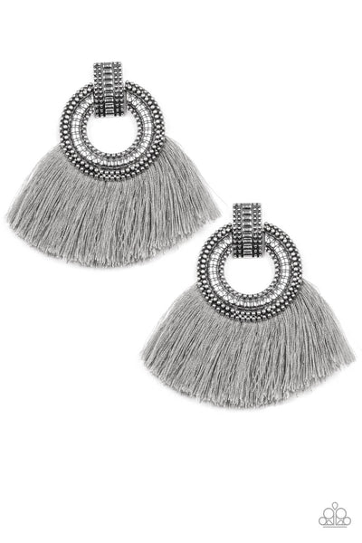 Paparazzi I Am Spartacus - Silver Fringe Earrings - Princess Glam Shop