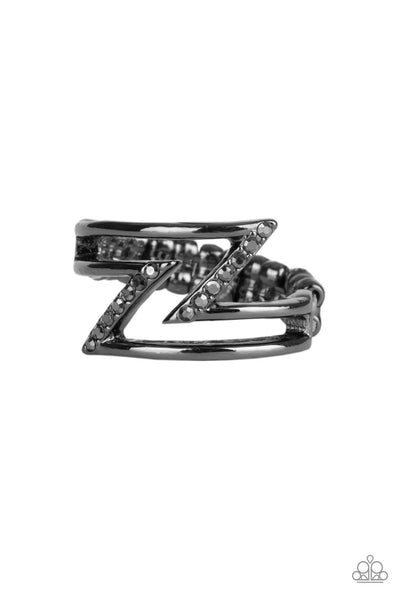 Paparazzi 5th Avenue Flash - Black Hematite Ring - PrincessGlamShop