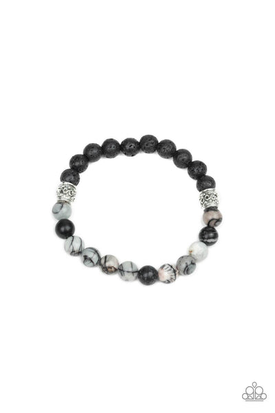 Paparazzi Take It Easy - Black Stone Bracelet - Princess Glam Shop