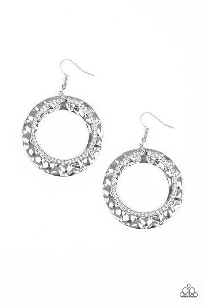 SOLD OUT Paparazzi Cinematic Shimmer - White Hoop Earrings - Princess Glam Shop