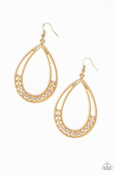Paparazzi Glitz Fit - Gold Teardrop Earring - Princess Glam Shop