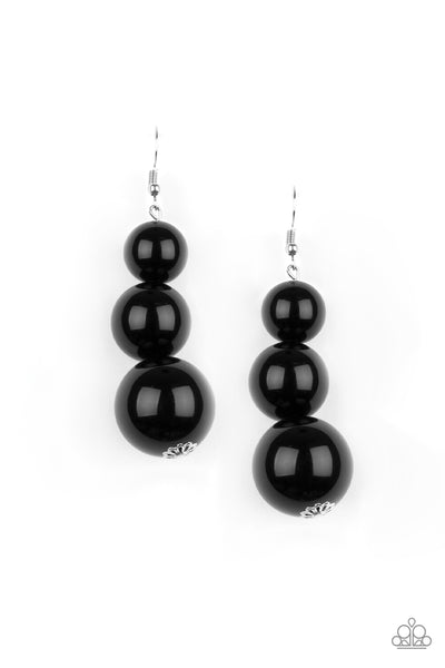 Paparazzi Material World - Black Bead Earrings - PrincessGlamShop