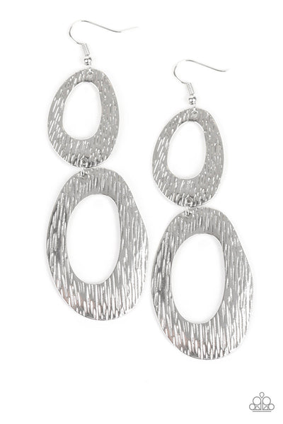 Paparazzi Ive SHEEN It All - Silver Textured Double Hoop Earrings - PrincessGlamShop