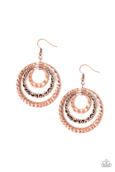 Paparazzi Out of Control Shimmer Copper Earrings - Princess Glam Shop