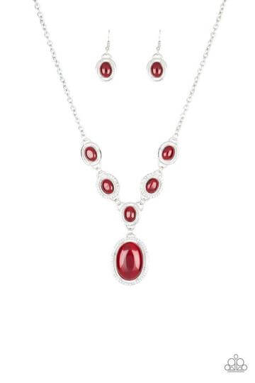 Paparazzi Metro Medallion - Red Necklace Set - Princess Glam Shop