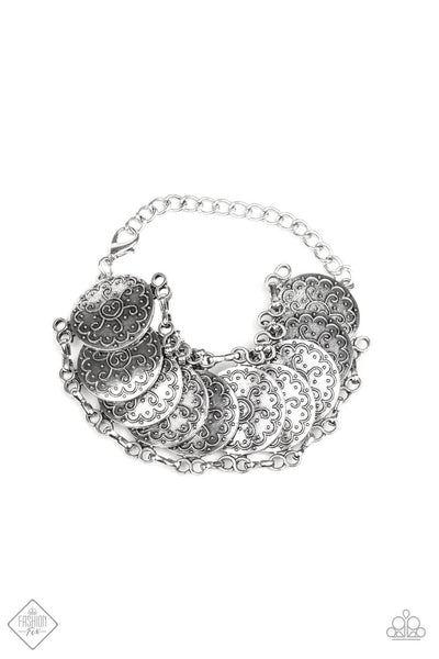 Paparazzi Tribal Treasure Trove Silver Disc Bracelet - PrincessGlamShop