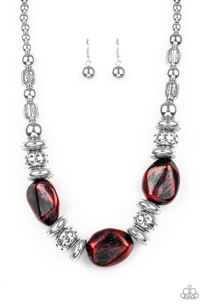 Paparazzi Colorfully Confident - Red Necklace Set - PrincessGlamShop