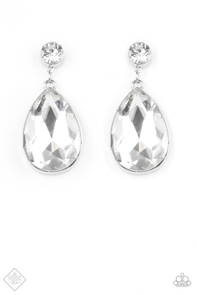 SOLD OUT Paparazzi Debutante Dazzle - Silver Teardrop Earrings - Princess Glam Shop