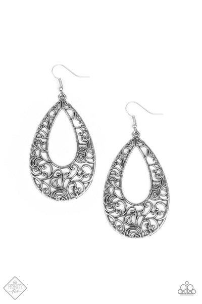 Paparazzi Iridescently Ivy Teardrop Silver Earrings - PrincessGlamShop