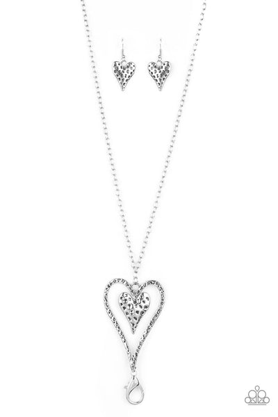 Paparazzi Hardened Hearts - Silver Lanyard Necklace Set - PrincessGlamShop