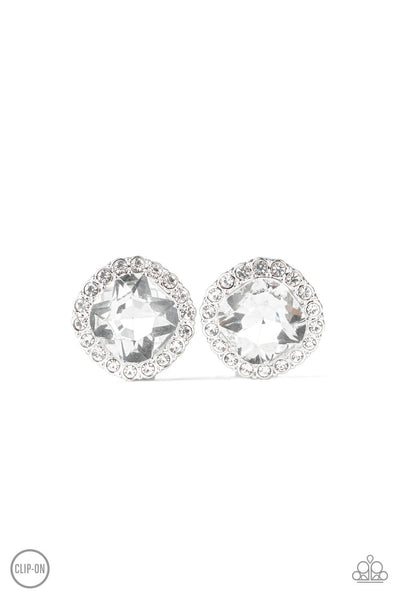 Paparazzi Diamond Duchess - White Earring - Princess Glam Shop