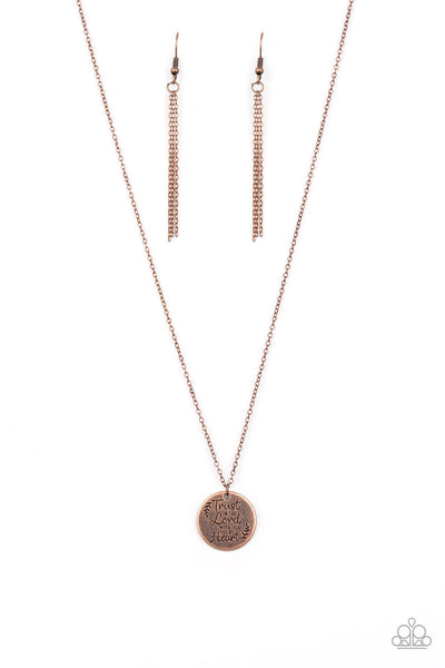 Paparazzi All You Need Is Trust - Copper Inspirational Necklace Set - Princess Glam Shop