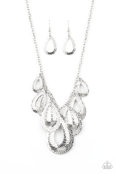 Paparazzi Teardrop Tempest - Silver Necklace Set - Princess Glam Shop