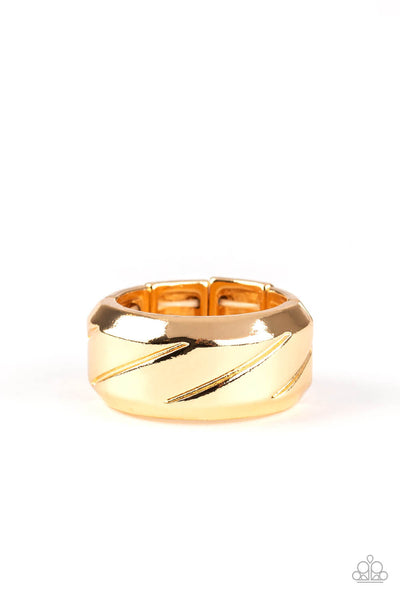 Paparazzi Sideswiped - Gold Men's Ring - Princess Glam Shop