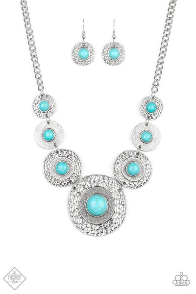 Paparazzi Tiger Trap Blue Turquoise Necklace Set - Princess Glam Shop