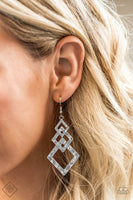 Paparazzi Point Blank Silver Diamond Shaped Hammered Earrings - Princess Glam Shop