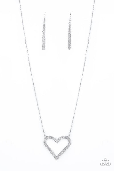 Paparazzi Pull Some Heart-String White Necklace Set - Princess Glam Shop
