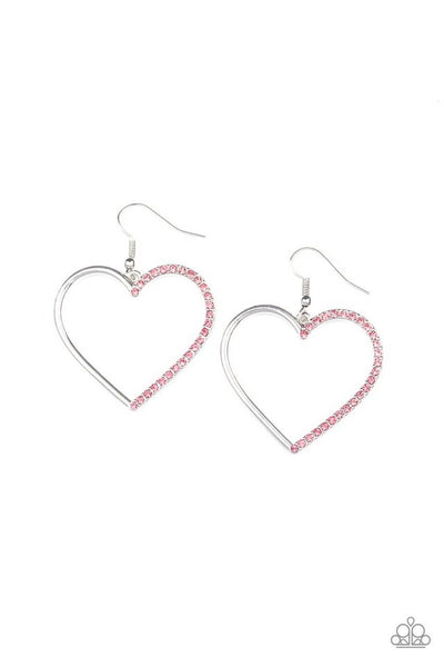 SOLD OUT Paparazzi First Date Dazzle Pink Heart Earrings - Princess Glam Shop