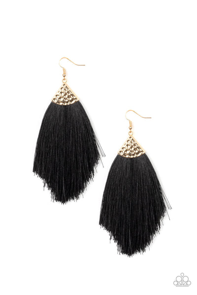 Tassel Tempo - Gold/Black Fabric Fringe Earrings - Princess Glam Shop