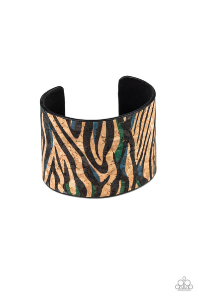Paparazzi Show Your True Stripes - Blue Cork Cuff Bracelet LIFE OF THE PARTY EXCLUSIVE - Princess Glam Shop