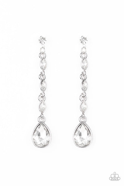 Paparazzi Must Love Diamonds - White Earrings LIFE OF THE PARTY EXCLUSIVE - Princess Glam Shop