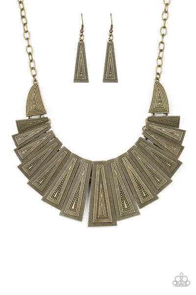 Paparazzi Metro Mane - Brass Necklace Set - Princess Glam Shop