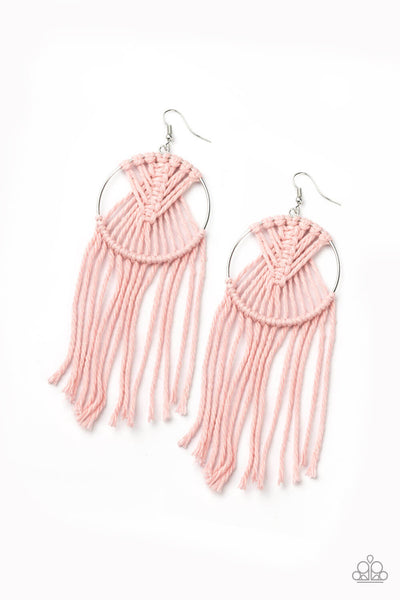 Paparazzi MACRAME, Myself, and I - Pink Earrings - Princess Glam Shop