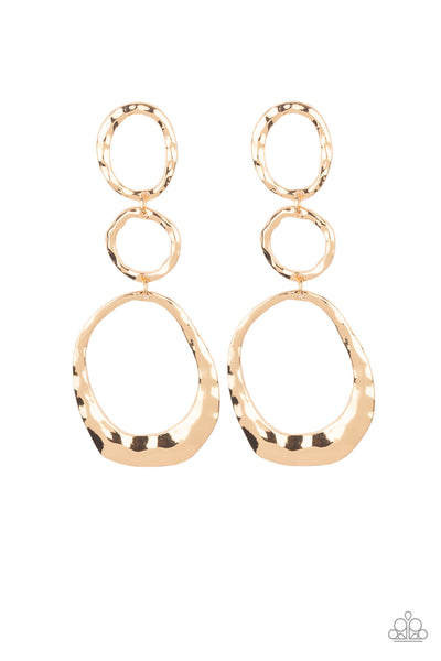 Paparazzi Radically Rippled - Gold Earrings - Princess Glam Shop
