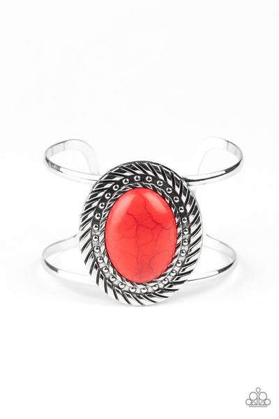 SOLD OUT Paparazzi Desert Aura - Red Cuff Bracelet - Princess Glam Shop