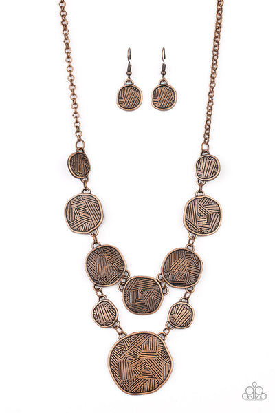 Paparazzi Metallic Patchwork - Copper Necklace Set - Princess Glam Shop