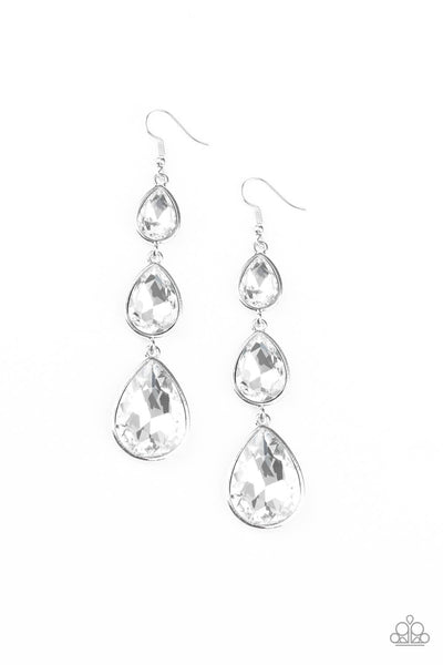 Paparazzi Metro Momentum Earrings - White - Princess Glam Shop